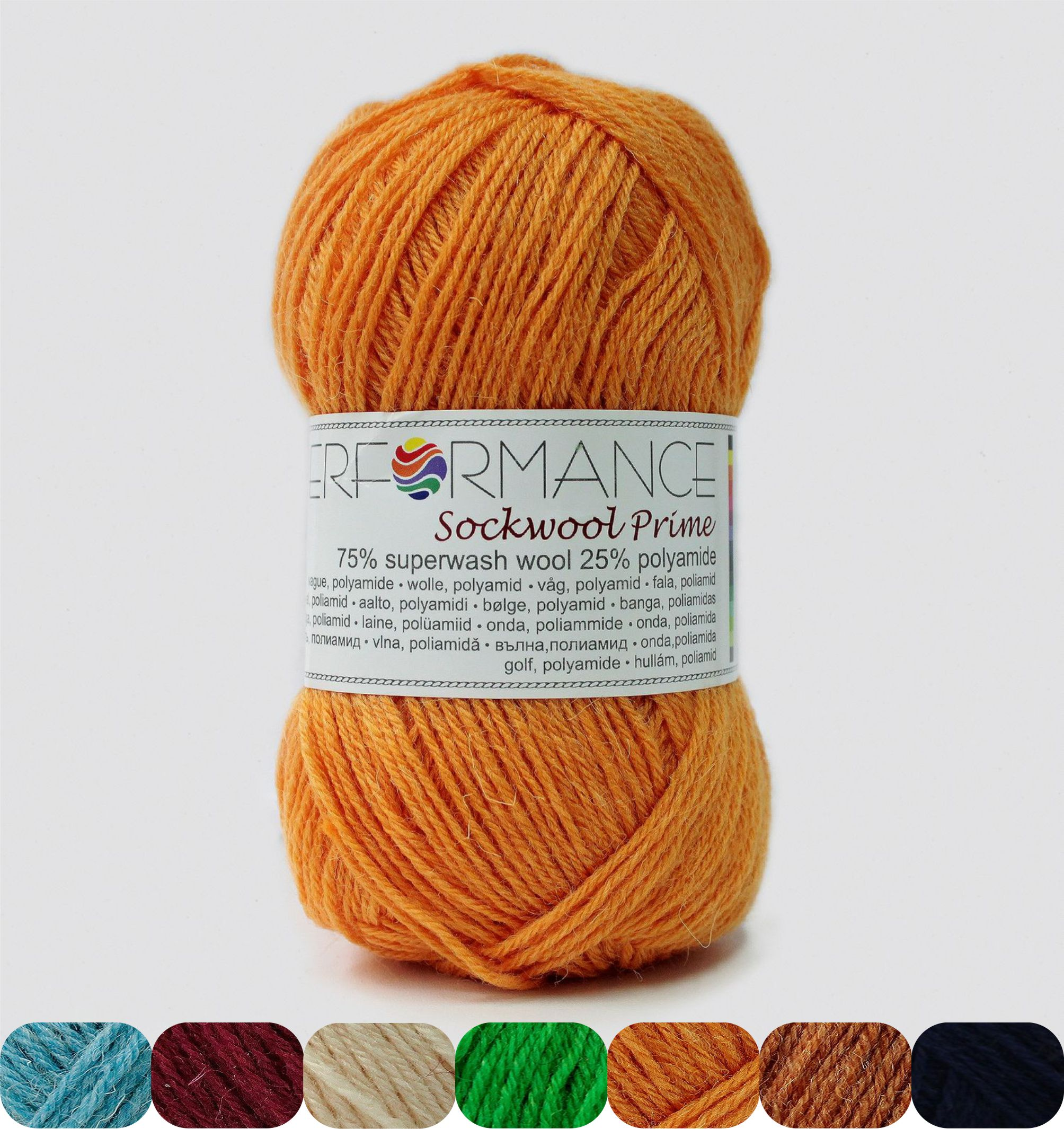 Garn Sockwool Prime - 75% Superwash Wolle, 25% Polyamide - NM 17/4 - 200 m pro 50 g - Kürbis 192