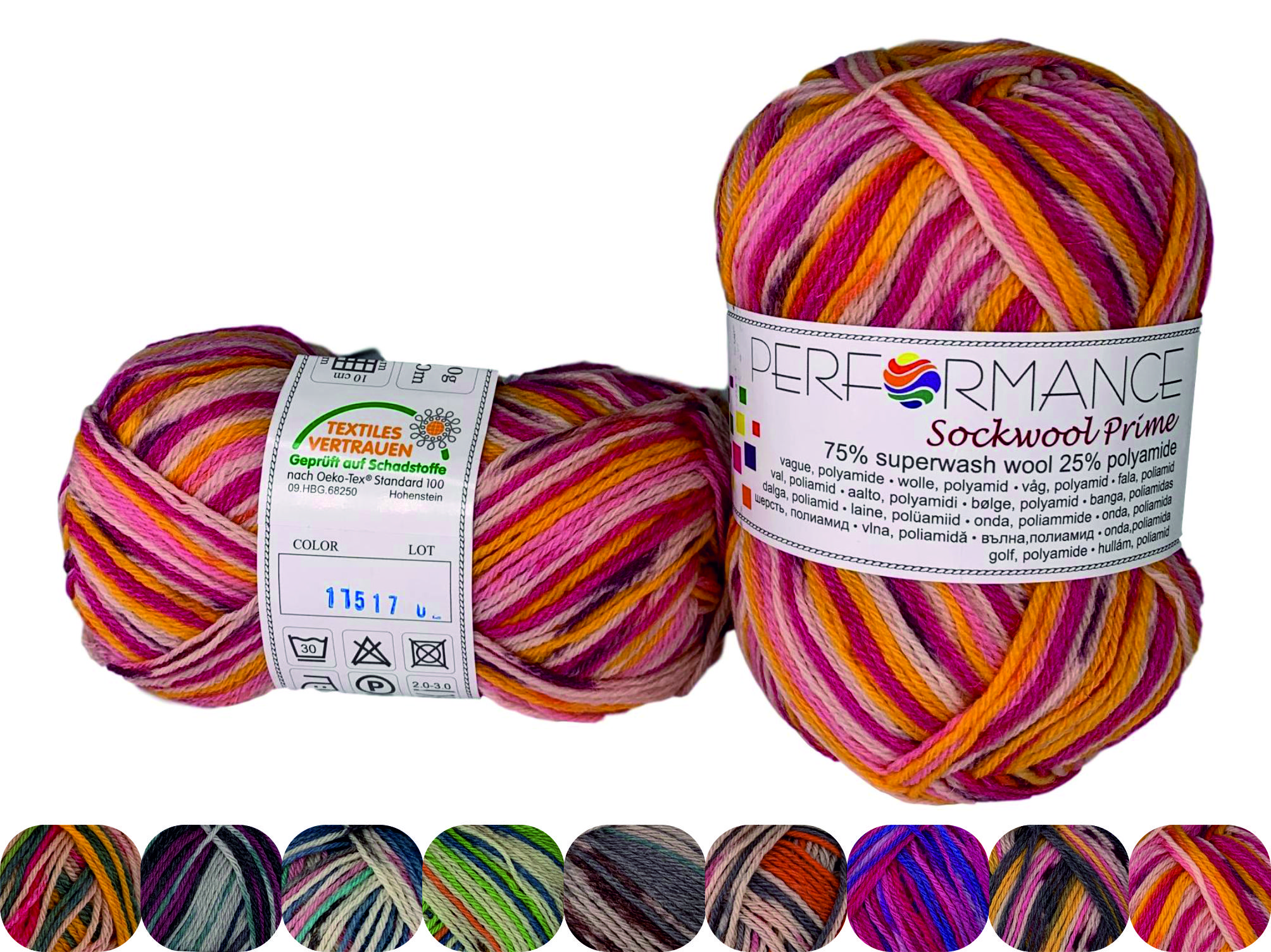Garn Sockwool Prime Multi  - 75% Superwash Wolle, 25% Polyamide - NM 17/4 - 200 m pro 50 g - 17517